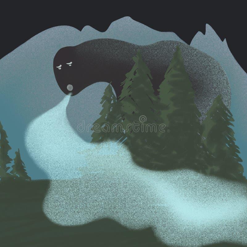 Ομίχλη βουνών, υδρονέφωση στα βουνά, πνεύμα βουνών διανυσματική απεικόνιση