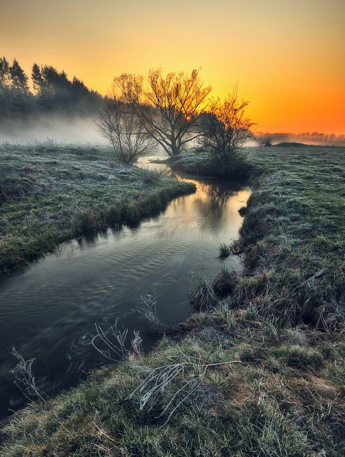 Ομίχλη στην κοιλάδα του ποταμού γραφική παράσταση πρωί στοκ εικόνες με δικαίωμα ελεύθερης χρήσης