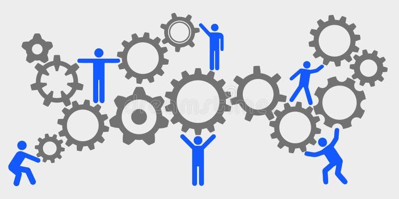 Ομαδική εργασία έννοιας, προσωπικό, μηχανισμός συνεργασίας - διάνυσμα ελεύθερη απεικόνιση δικαιώματος