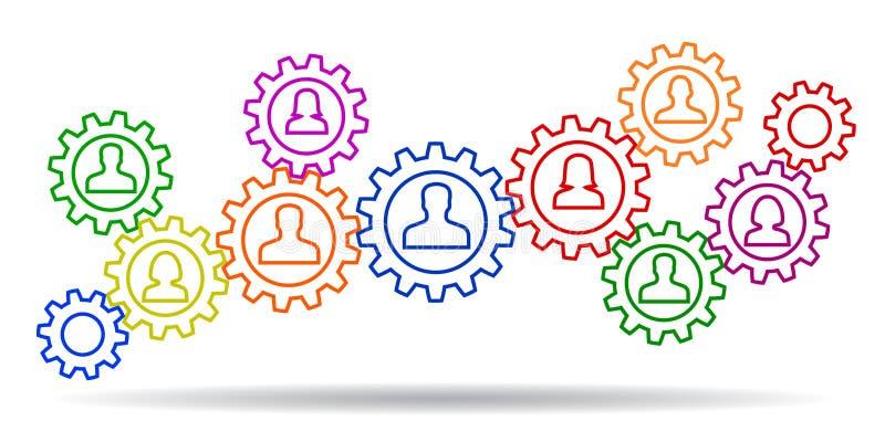 Ομαδική εργασία έννοιας, προσωπικό, συνεργασία - διάνυσμα απεικόνιση αποθεμάτων