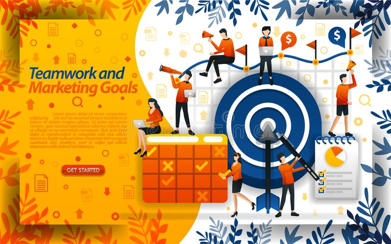 Ομαδική εργασία για να επιτύχει τους στόχους μάρκετινγκ αυξήστε τις πωλήσεις και καθορίστε τους μελλοντικούς στόχους, διανυσματικ ελεύθερη απεικόνιση δικαιώματος