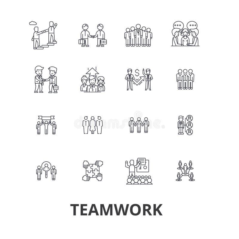 Ομαδική εργασία, ομάδα, έννοια, που λειτουργεί μαζί, συνεργασία, επιτυχία, εικονίδια γραμμών συνεργασίας Κτυπήματα Editable Επίπε απεικόνιση αποθεμάτων