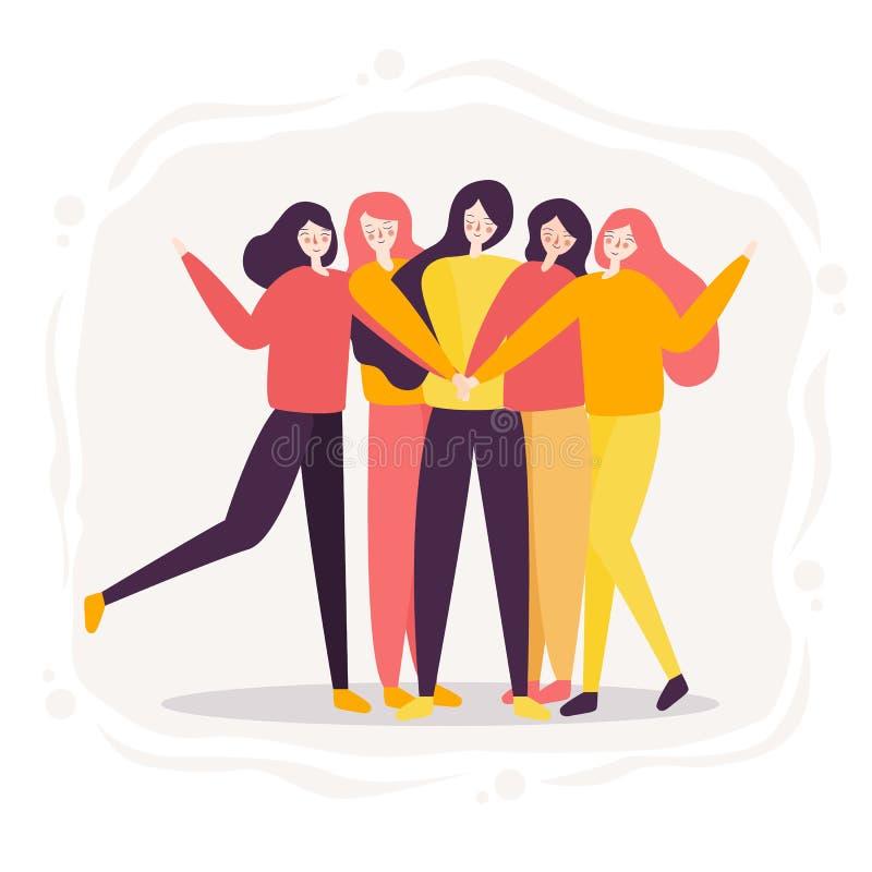 Ομαδική εργασία της γυναίκας επιτυχή υψηλά πέντε μαζί, ομάδα φιλίας εύθυμο φωτεινό διαποτισμένο χρώμα που σύρει το ρευστό ύφος διανυσματική απεικόνιση