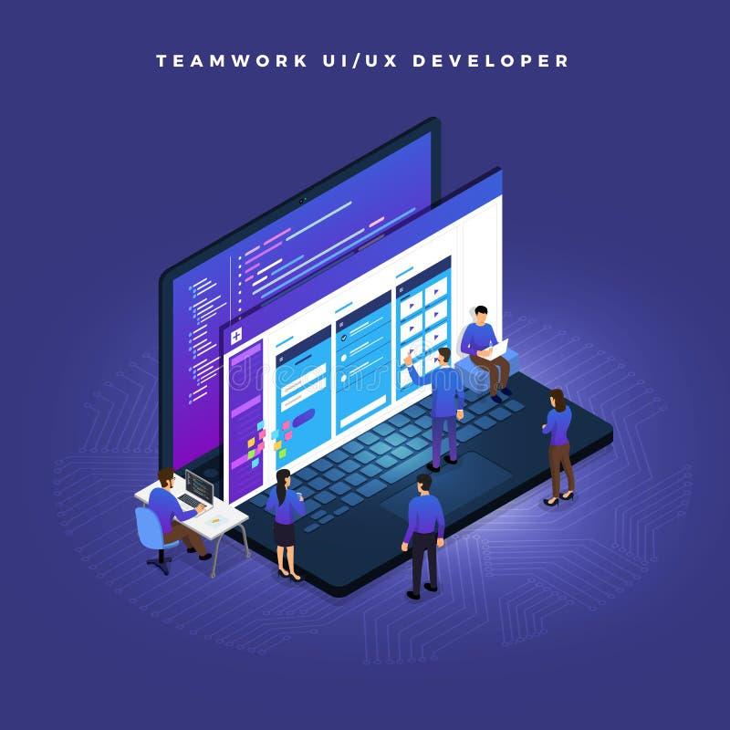 Ομαδική εργασία UI/υπεύθυνος για την ανάπτυξη UX διανυσματική απεικόνιση