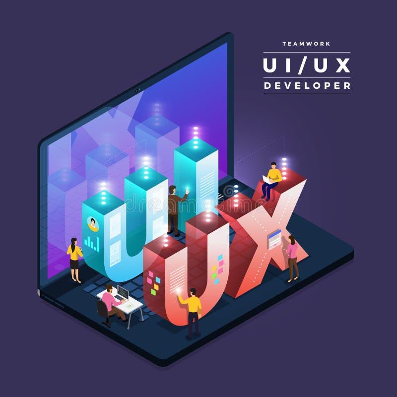 Ομαδική εργασία UI/υπεύθυνος για την ανάπτυξη UX απεικόνιση αποθεμάτων