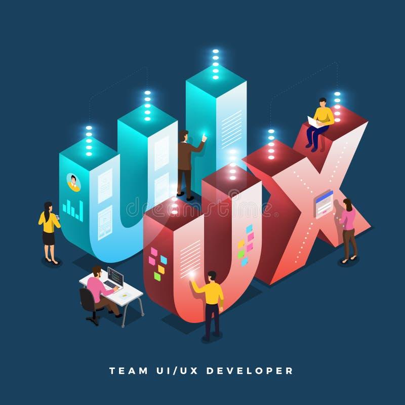 Ομαδική εργασία UI/υπεύθυνος για την ανάπτυξη UX ελεύθερη απεικόνιση δικαιώματος