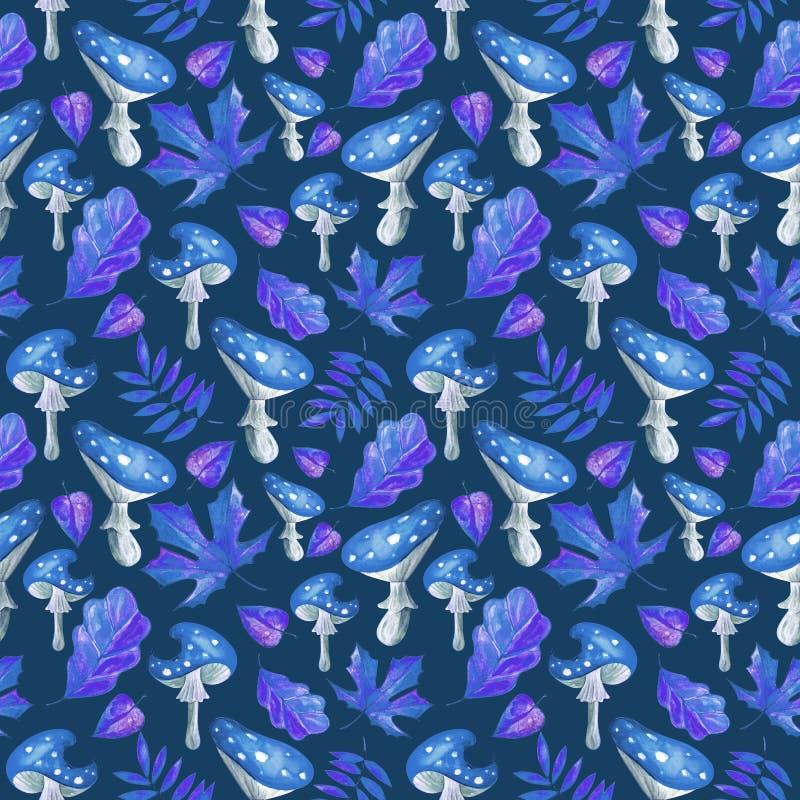 Ομαλό μοτίβο με μπλε νεράιδα μανιτάρια σε φύλλα νερομπογιάς στο μοβ φόΠδιανυσματική απεικόνιση