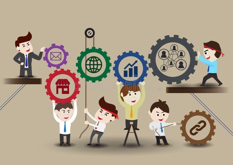 Ομαδική εργασία στην επιτυχή επιχείρηση, πρότυπο ελεύθερη απεικόνιση δικαιώματος