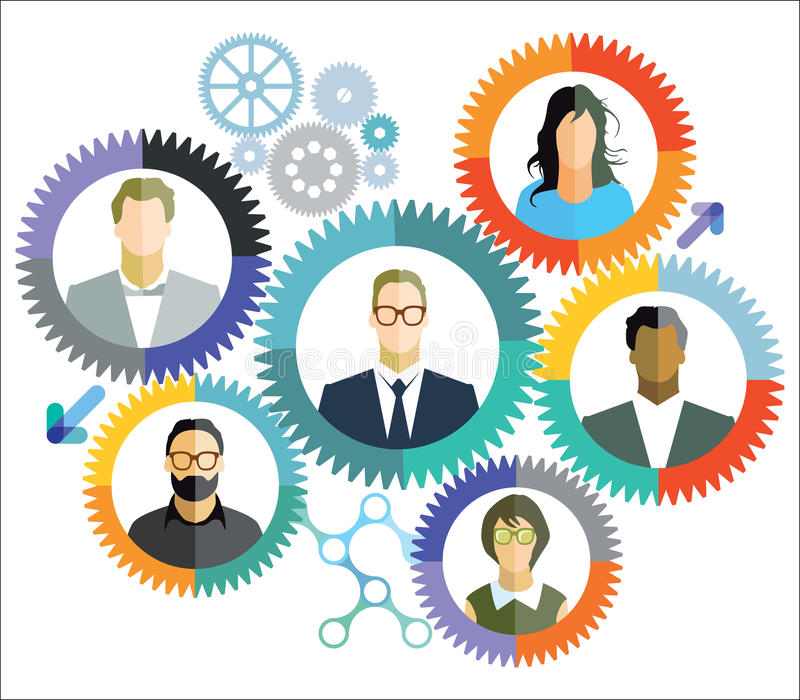 Ομαδική εργασία, συνεργασία, συνδέσεις ελεύθερη απεικόνιση δικαιώματος