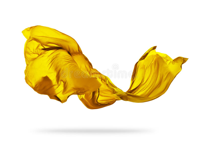 Ομαλό κομψό κίτρινο ύφασμα στο άσπρο υπόβαθρο στοκ εικόνες