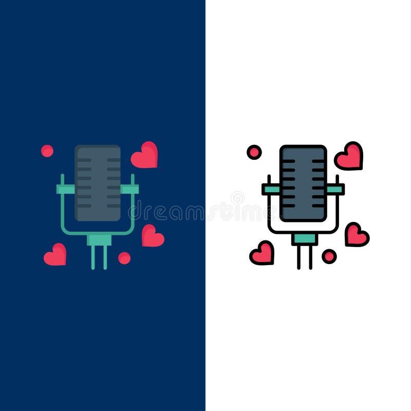 Ομιλία, αγάπη, παντρεμένη, γαμήλια εικονίδια Επίπεδος και γραμμή γέμισε το καθορισμένο διανυσματικό μπλε υπόβαθρο εικονιδίων απεικόνιση αποθεμάτων