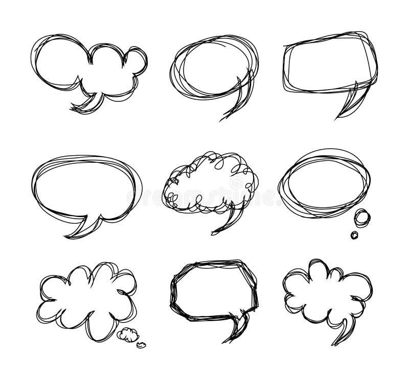 ομιλία χεριών σχεδίων κινούμενων σχεδίων φυσαλίδων doodle απεικόνιση αποθεμάτων