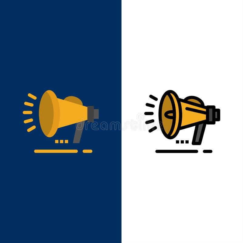 Ομιλητής, μεγάφωνο, φωνή, εικονίδια ανακοίνωσης Επίπεδος και γραμμή γέμισε το καθορισμένο διανυσματικό μπλε υπόβαθρο εικονιδίων διανυσματική απεικόνιση