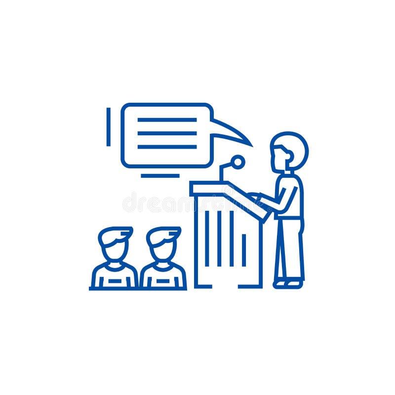 Ομιλητής, παρουσίαση, έννοια εικονιδίων γραμμών στάσεων βημάτων εξεδρών Ομιλητής, παρουσίαση, επίπεδο διάνυσμα στάσεων βημάτων εξ διανυσματική απεικόνιση
