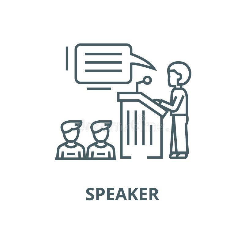 Ομιλητής, παρουσίαση, διανυσματικό εικονίδιο γραμμών στάσεων βημάτων εξεδρών, γραμμική έννοια, σημάδι περιλήψεων, σύμβολο ελεύθερη απεικόνιση δικαιώματος