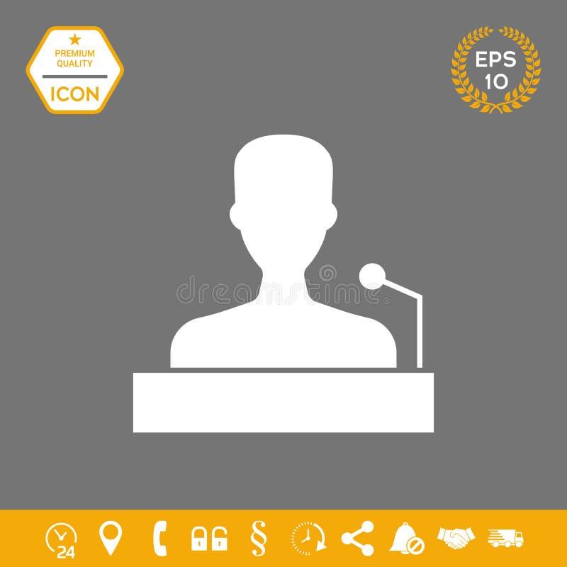 Ομιλητής, ομιλητής που μιλά από το εικονίδιο βημάτων Γραφικά στοιχεία για το σχέδιό σας διανυσματική απεικόνιση