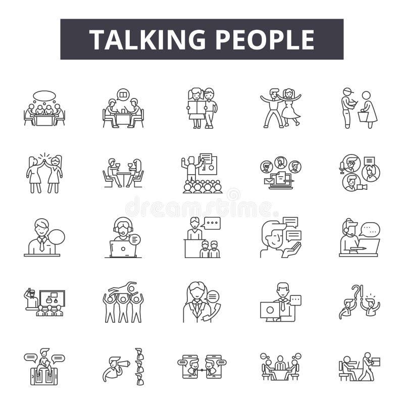 Ομιλούντα εικονίδια γραμμών ανθρώπων, σημάδια, διανυσματικό σύνολο, γραμμική έννοια, απεικόνιση περιλήψεων απεικόνιση αποθεμάτων