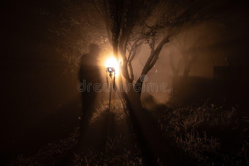 Ομιχλώδες ναυπηγείο νύχτας με το φωτεινό φως στο υπόβαθρο ένωση φαναριών στο δέντρο και τη σκιαγραφία του καμεραμάν με τη κάμερα  στοκ εικόνες