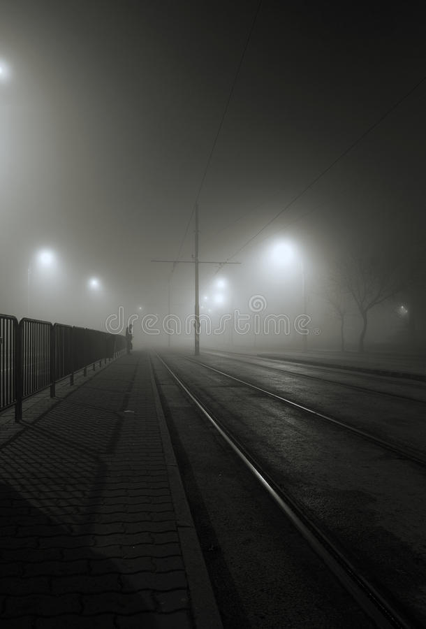Ομιχλώδης νύχτα στοκ φωτογραφία