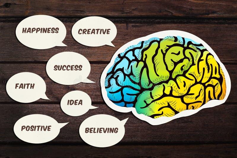 Ομιλία εγκεφάλου με το θετικό κείμενο σκέψης στοκ εικόνες