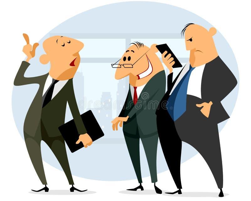 Ομιλία τριών επιχειρηματιών διανυσματική απεικόνιση