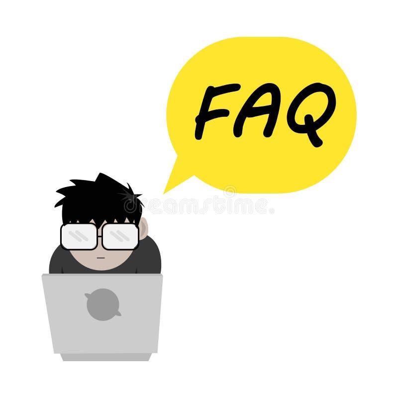Ομιλία φυσαλίδων τύπων FAQ Nerd απεικόνιση αποθεμάτων