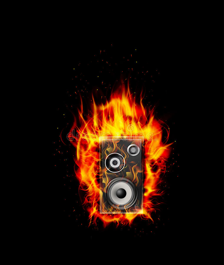 Ομιλητής καψίματος πυρκαγιάς στο μαύρο υπόβαθρο ελεύθερη απεικόνιση δικαιώματος