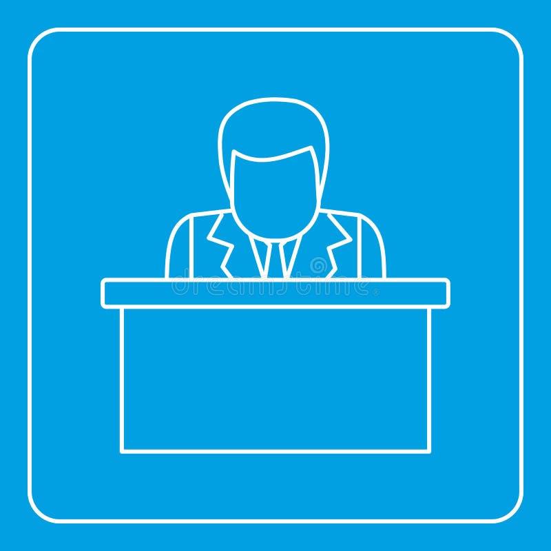 Ομιλητής που μιλά από την περίληψη εικονιδίων βημάτων διανυσματική απεικόνιση