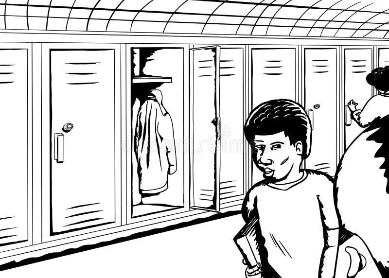Ομιλούντες σπουδαστές κοντά στο ανοικτό ντουλάπι απεικόνιση αποθεμάτων