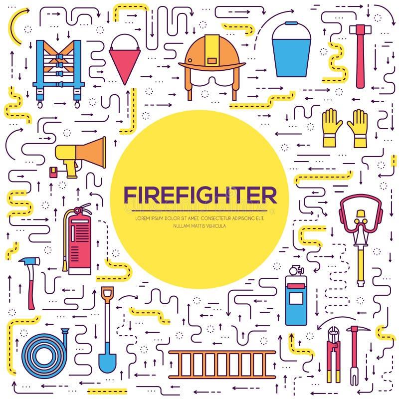Ομοιόμορφα και πρώτα όργανα εξοπλισμού βοήθειας σύνολο επίπεδων πυροσβεστών και Στην έννοια υποβάθρου ύφους επίσης corel σύρετε τ απεικόνιση αποθεμάτων