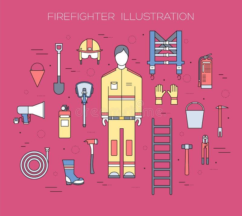 Ομοιόμορφα και πρώτα όργανα εξοπλισμού βοήθειας σύνολο πυροσβεστών και Στην επίπεδη έννοια υποβάθρου ύφους επίσης corel σύρετε το απεικόνιση αποθεμάτων