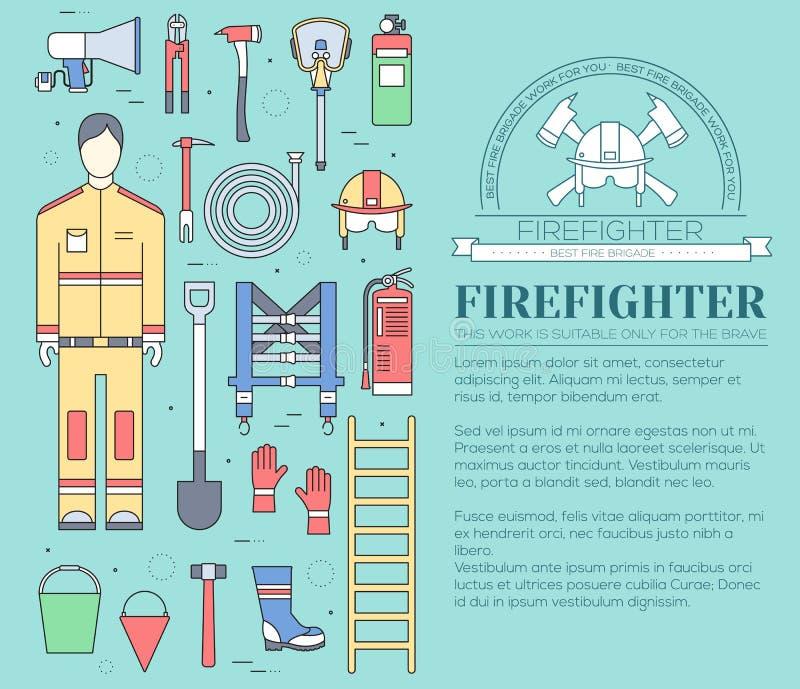 Ομοιόμορφα και πρώτα όργανα εξοπλισμού βοήθειας σύνολο επίπεδων πυροσβεστών και Στην επίπεδη έννοια υποβάθρου ύφους διάνυσμα διανυσματική απεικόνιση