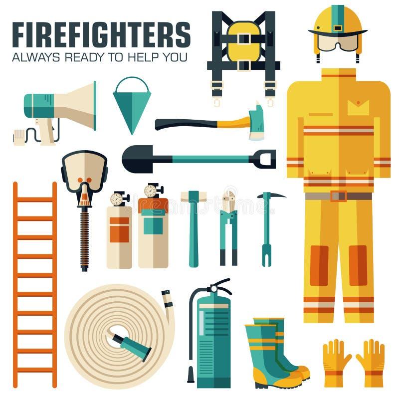 Ομοιόμορφα και πρώτα όργανα εξοπλισμού βοήθειας σύνολο επίπεδων πυροσβεστών και Στην επίπεδη έννοια υποβάθρου ύφους διάνυσμα ελεύθερη απεικόνιση δικαιώματος