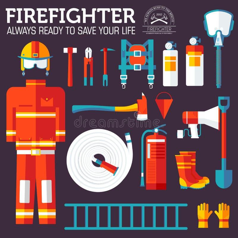 Ομοιόμορφοι και πρώτοι όργανα βοήθειας εξοπλισμός πυροσβεστών και Στην επίπεδη έννοια υποβάθρου ύφους Διανυσματική απεικόνιση για διανυσματική απεικόνιση