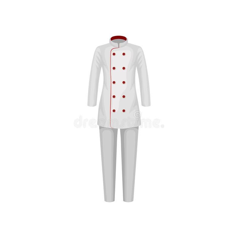 Ομοιόμορφος του μάγειρα εστιατορίων Θηλυκά σακάκι και εσώρουχα Ένδυση αρχιμαγείρων Ενδύματα του εργαζομένου κουζινών Επίπεδο διαν διανυσματική απεικόνιση
