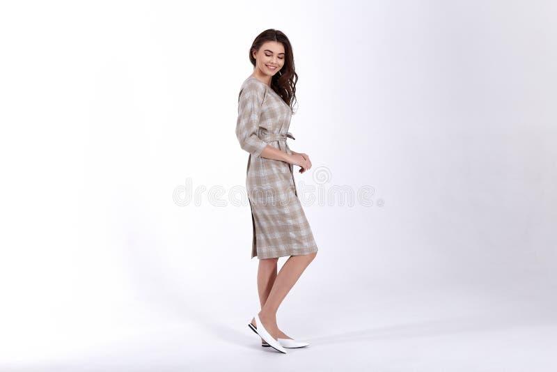 Ομορφιάς γυναικών πρότυπη τάση σχεδίου ένδυσης μοντέρνη που ντύνει το φυσικό οργανικό μαλλιού βαμβακιού ύφος γραφείων φορεμάτων π στοκ εικόνες με δικαίωμα ελεύθερης χρήσης