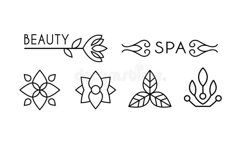 Ομορφιά και σχέδιο λογότυπων SPA, γραμμική ετικέτα με τα floral στοιχεία για την τρίχα, σαλόνι SPA, οργανική διανυσματική απεικόν ελεύθερη απεικόνιση δικαιώματος