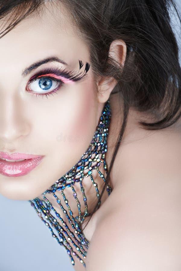 Ομορφιά με τα ρόδινα eyelashes στοκ φωτογραφία με δικαίωμα ελεύθερης χρήσης