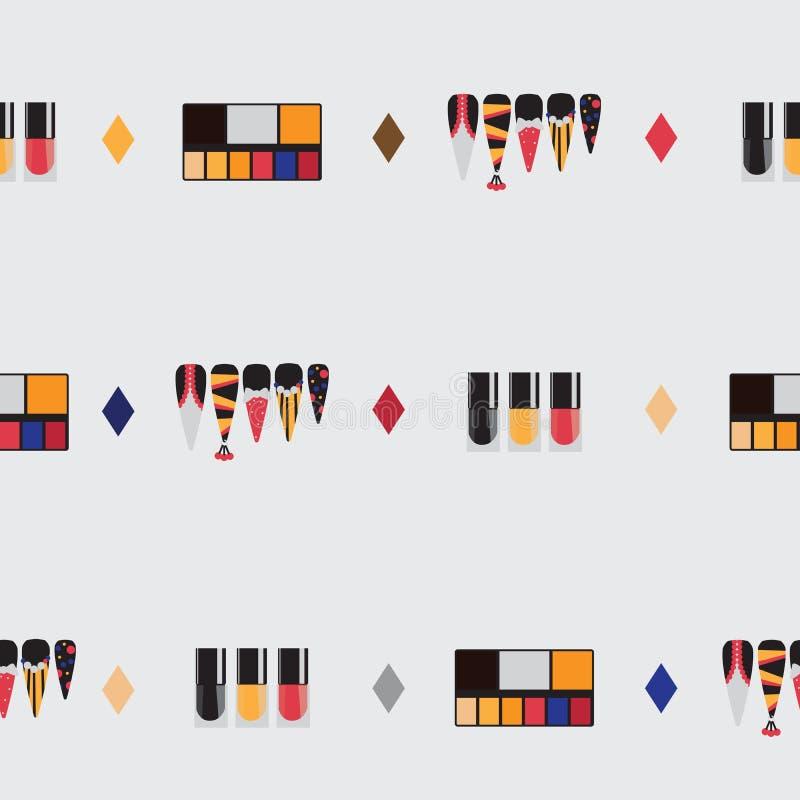 Ομορφιά που τίθεται με τα ζωηρόχρωμα προϊόντα ομορφιάς - makeup θέστε, καρφώστε τα μπουκάλια στιλβωτικών ουσιών, σχέδια καρφιών μ απεικόνιση αποθεμάτων