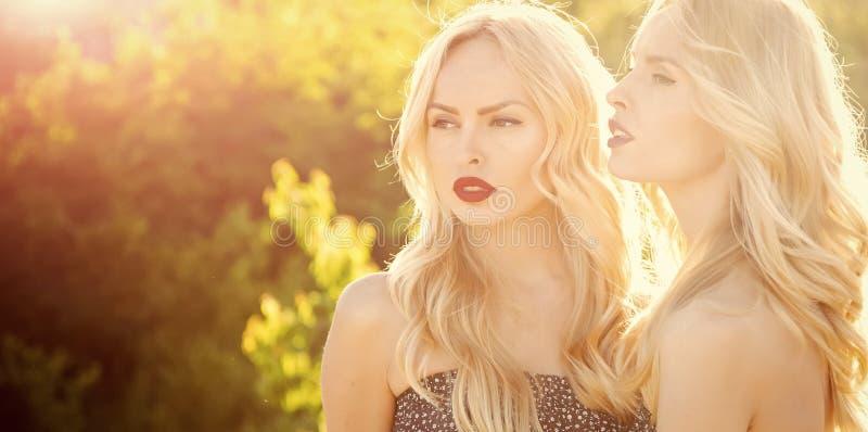 Ομορφιά προσώπου γυναικών Γυναίκες με την ξανθή τρίχα και makeup υπαίθριος στοκ εικόνα με δικαίωμα ελεύθερης χρήσης