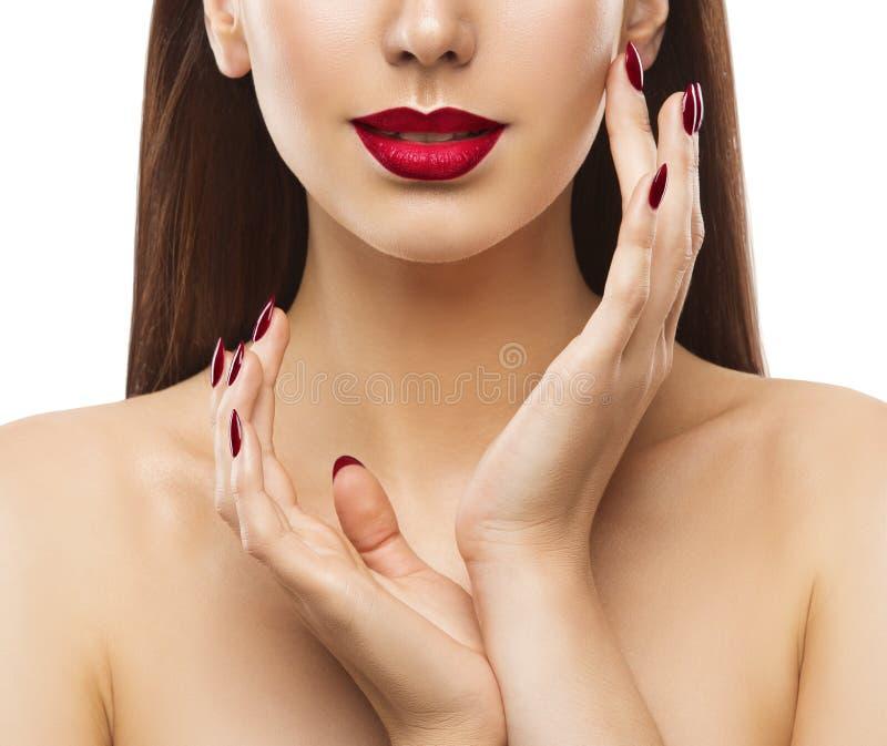 Ομορφιά χειλικών καρφιών γυναικών, πρότυπη φροντίδα Makeup, προσώπου και δέρματος χεριών στοκ εικόνα με δικαίωμα ελεύθερης χρήσης