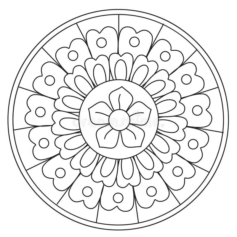 Ομορφιά Floral Mandala χρωματισμού ελεύθερη απεικόνιση δικαιώματος