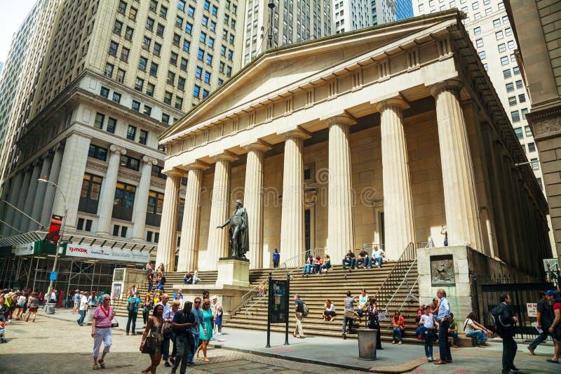 Ομοσπονδιακό εθνικό μνημείο αιθουσών στη Γουώλ Στρητ στη Νέα Υόρκη στοκ φωτογραφία με δικαίωμα ελεύθερης χρήσης