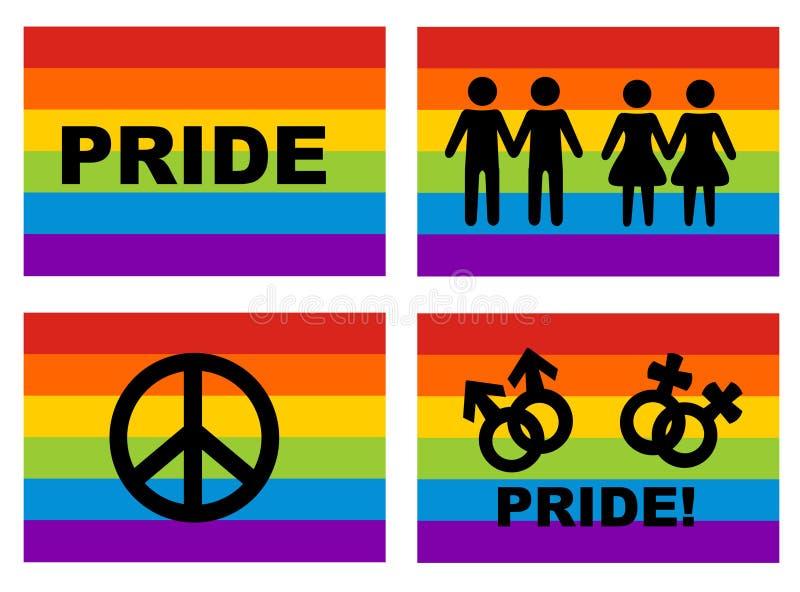ομοφυλοφιλικά εικονίδια σημαιών ελεύθερη απεικόνιση δικαιώματος