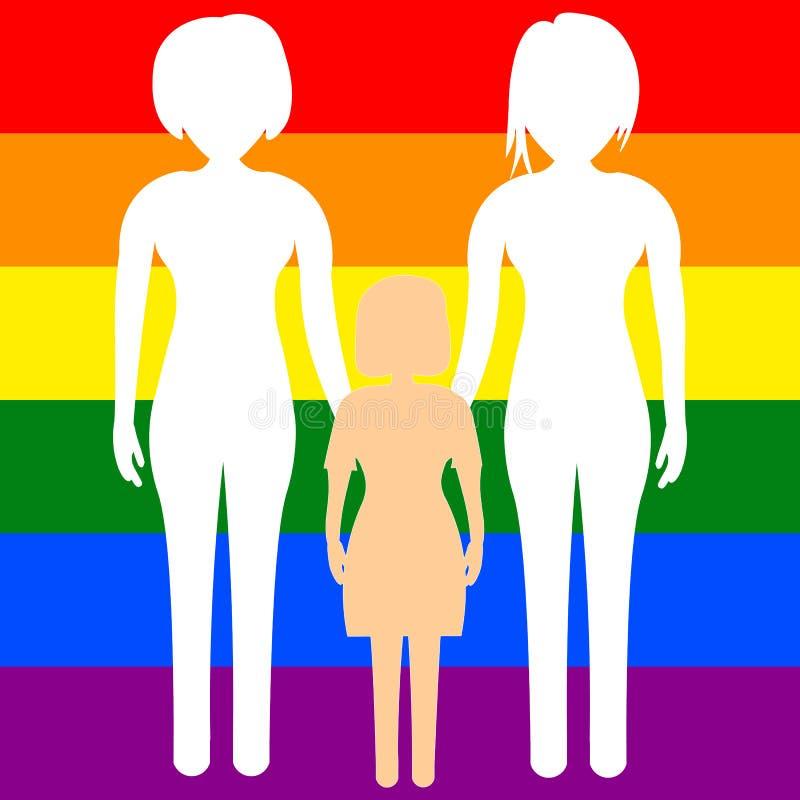 Ομοφυλοφιλική οικογένεια δύο λεσβιών με ένα κορίτσι παιδιών στο υπόβαθρο της σημαίας LGBT r ελεύθερη απεικόνιση δικαιώματος