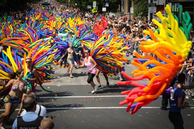 ομοφυλοφιλική υπερηφάνεια παρελάσεων του Σικάγου στοκ εικόνες