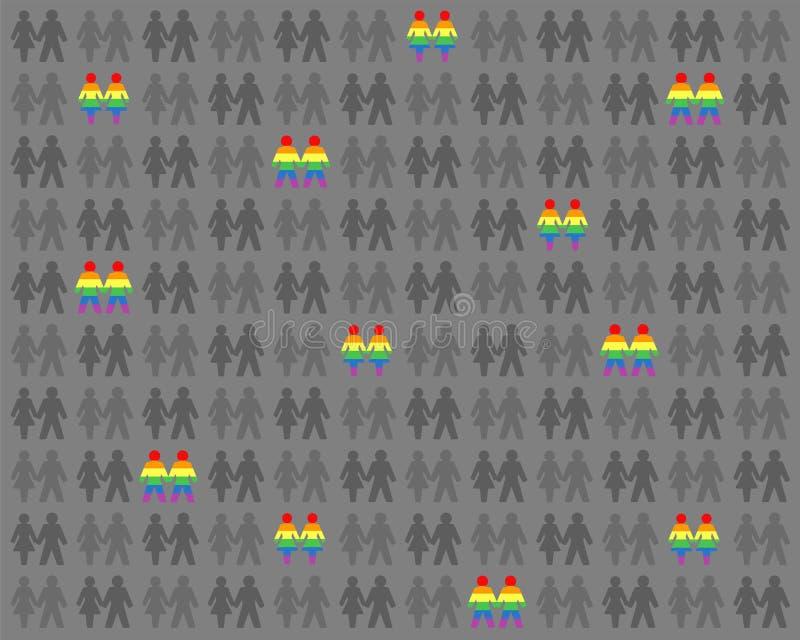 Ομοφυλοφιλικό λεσβιακό ουράνιο τόξο ζευγών αγάπης που χρωματίζεται μεταξύ των γκρίζων ανθρώπων απεικόνιση αποθεμάτων
