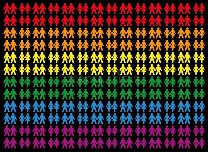 Ομοφυλοφιλικό σύμβολο ζευγών αγάπης υπερηφάνειας απεικόνιση αποθεμάτων