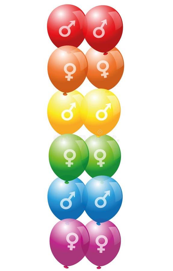 Ομοφυλοφιλικά λεσβιακά μπαλόνια συμβόλων αγάπης διανυσματική απεικόνιση
