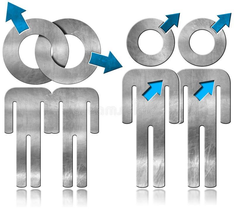 Ομοφυλοφιλική σχέση - σύμβολο μετάλλων διανυσματική απεικόνιση